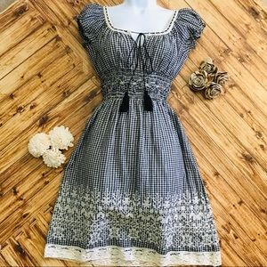CHELSEA & VIOLET EMBROIDERED CHECKERED DRESS,SZ XS
